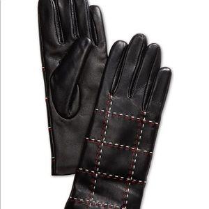 Charter club plaid topstitch leather glove size S